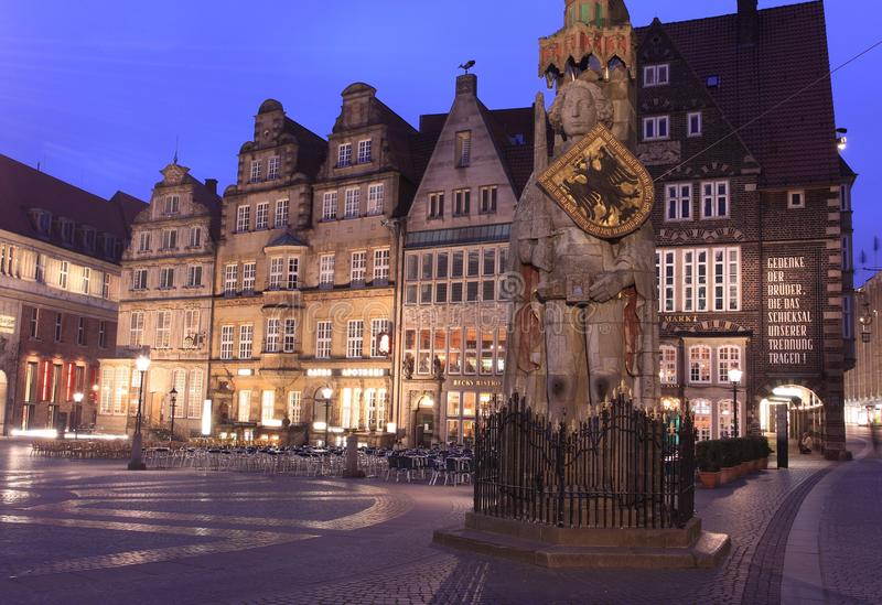 Bremen Roland. The statue of Roland in Bremen at night, Germany royalty free stock images