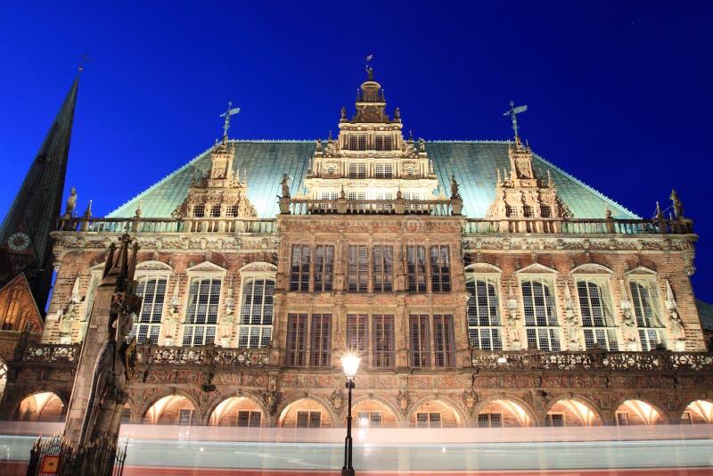 Bremen 's nachts, Duitsland royalty-vrije stock fotografie