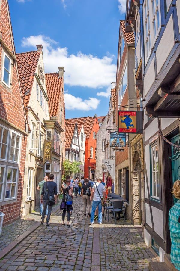 Bremen Schnoor Quarter. Bremen, Germany - June 6, 2014: Alley of the quarter Schnoor, an old town street in downtown Bremen, UNESCO World Heritage Site royalty free stock photo