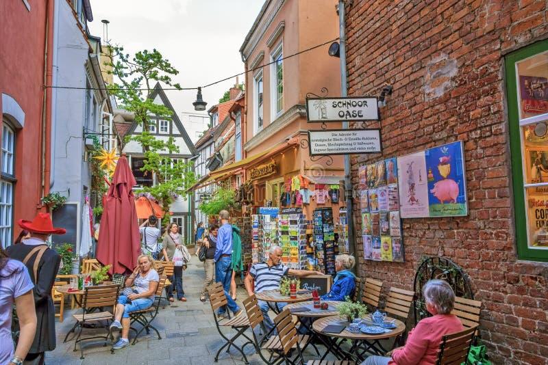 Bremen Schnoor Quarter. Bremen, Germany - June 6, 2014: In the quarter Schnoor, an old town street in downtown Bremen, UNESCO World Heritage Site royalty free stock photos