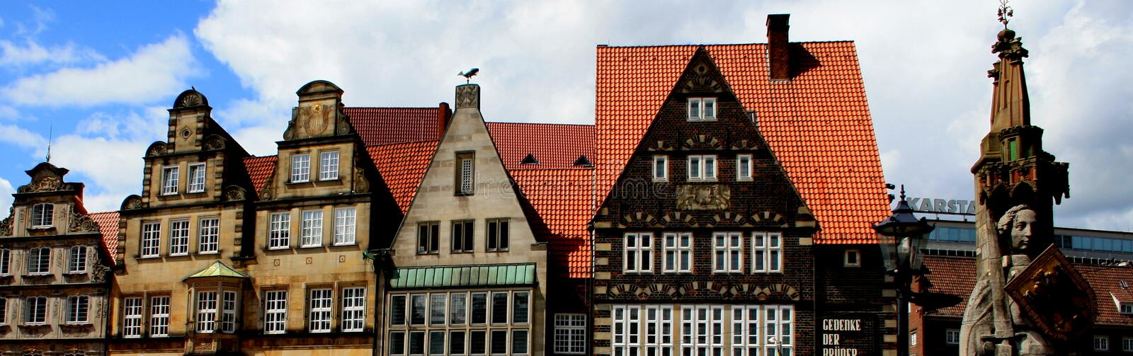Bremen. The statue of Roland and old buildings in Bremen stock photography
