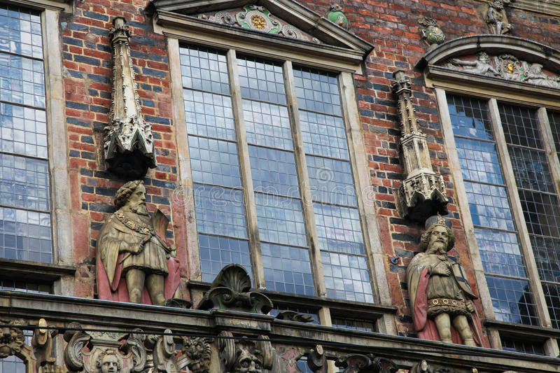 Bremen. Statues at the Town Hall (Rathaus) of Bremen, northwestern Germany royalty free stock photo