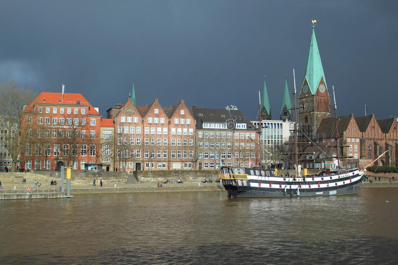 Bremen before storm. Historic center and river Weser in Bremen before a storm, Germany royalty free stock photography