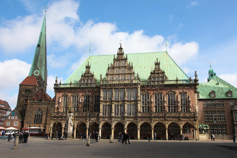 Bremen. Town hall or rathaus in Bremen, Germany on April 7, 2013. Bremen is the second most populous city of northern Germany royalty free stock photos