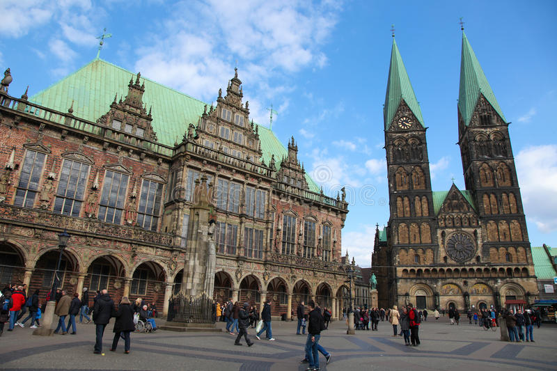 Bremen. Town Hall and Saint Peters church in Bremen, northwestern Germany, on April 6, 2013. Bremen is the second most populous city in Northern Germany royalty free stock image