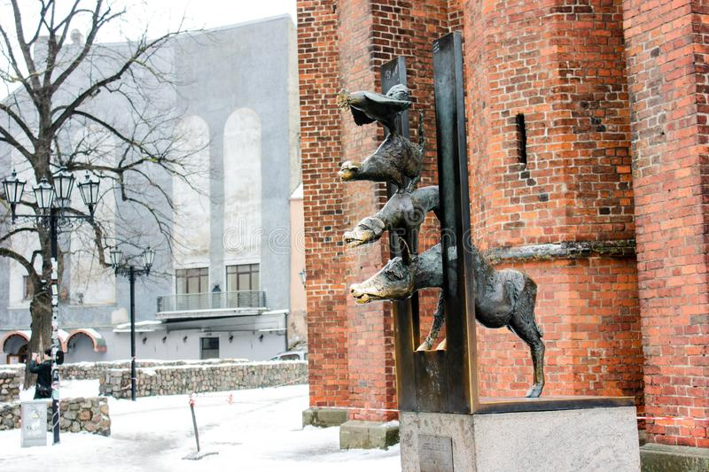 The Bremen Town Musicians in old town of Riga, Latvia in february 2019. The Bremen Town Musicians, the sculpture standing in old town of Riga, Latvia. The royalty free stock image
