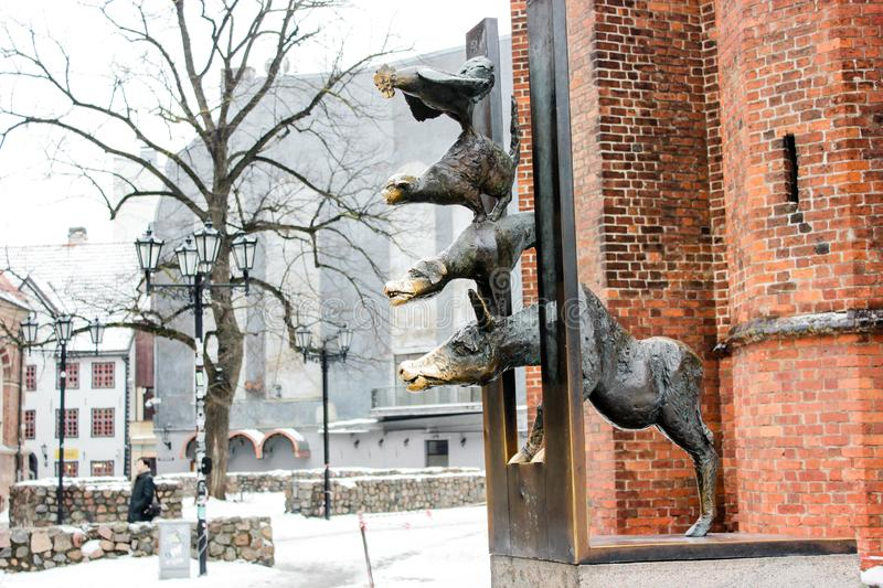 The Bremen Town Musicians in old town of Riga, Latvia in february 2019. The Bremen Town Musicians, the sculpture standing in old town of Riga, Latvia. The royalty free stock photo