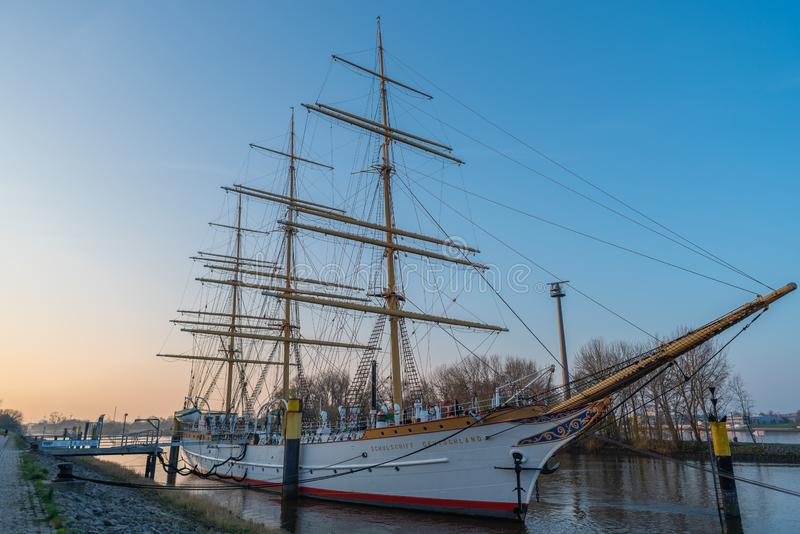 Bremen-Vegesack, Bremen, Germany - March 29, 2019 Sail school ship Germany is anchored in Vegesack. In 1927 commissioned ship with royalty free stock image