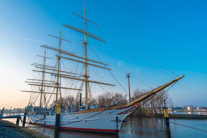 Bremen-Vegesack, Bremen, Germany - March 29, 2019 Sail school ship Germany is anchored in Vegesack. In 1927 commissioned ship with stock photo