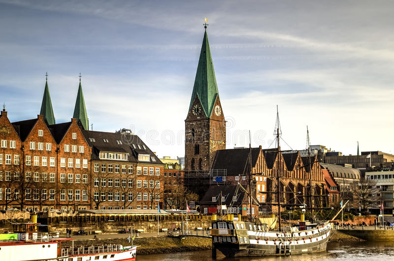 Bremen waterfront, Germany. Weser river waterfront in Bremen, Germany stock images