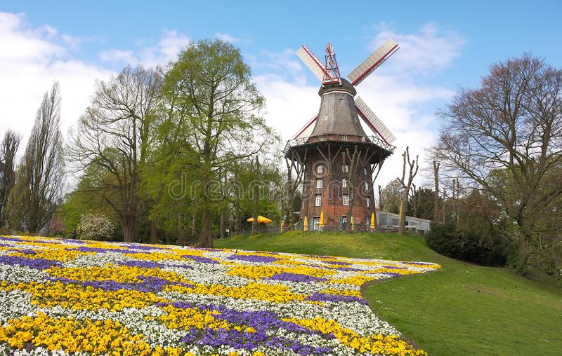 Bremen - windmill at ramparts - III -. The Bremen ramparts were part of the Bremen city fortifications and emerged from the fortifications built until the 17th stock image