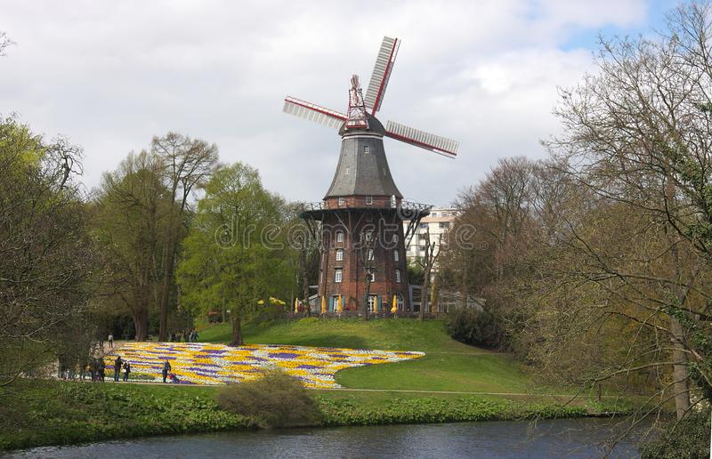 Bremen - windmill at ramparts - VI -. The Bremen ramparts were part of the Bremen city fortifications and emerged from the fortifications built until the 17th royalty free stock images