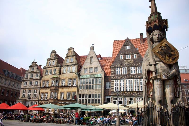 Bremer Roland Statue im Bremen Marktplatz in Deutschland stockfotografie
