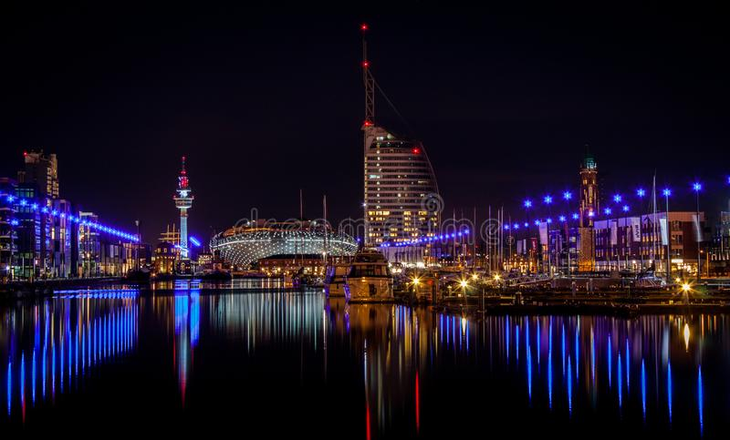 Bremerhaven at night royalty free stock image