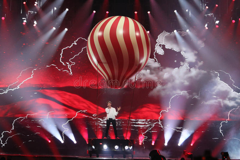 Brendan Murray from Ireland Eurovision 2017. KYIV, UKRAINE - MAY 10, 2017: Brendan Murray from Ireland at the second semi-final rehearsal during Eurovision Song royalty free stock images