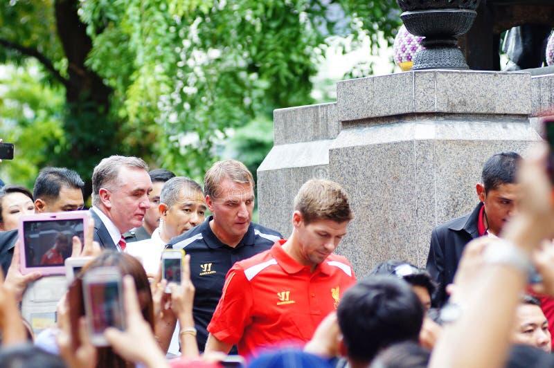 Brendan Rodgers y Steven Gerrard   en el hospital Bangkok TAILANDIA de Siriraj foto de archivo libre de regalías