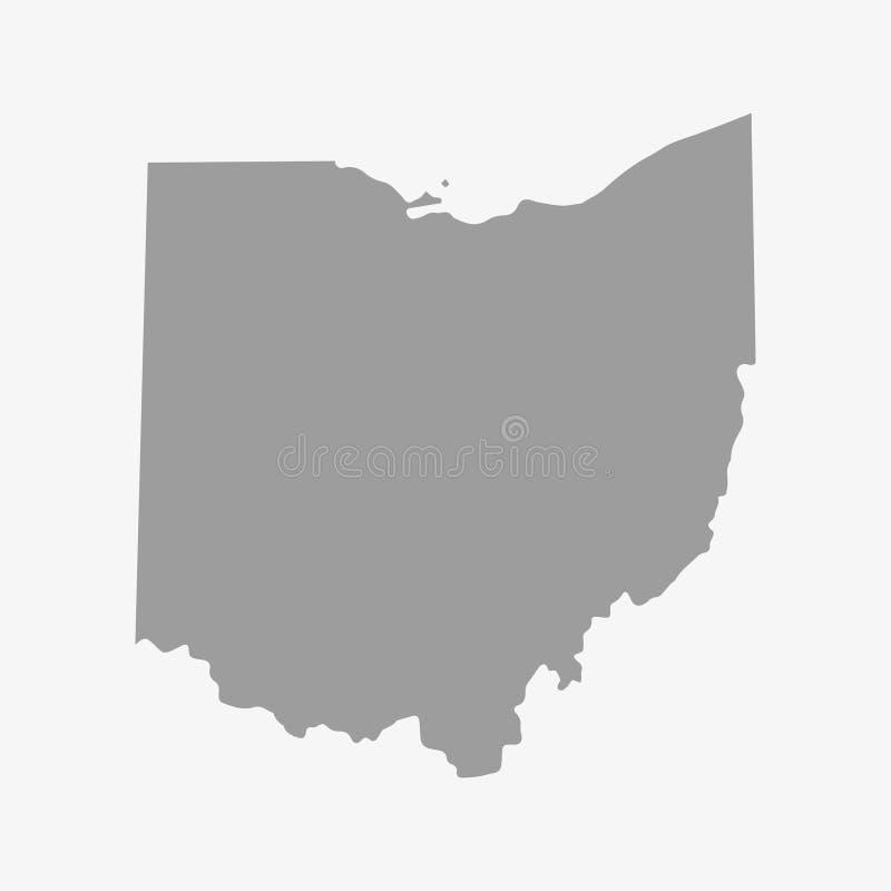 Breng de Staat van Ohio in grijs op een witte achtergrond in kaart vector illustratie
