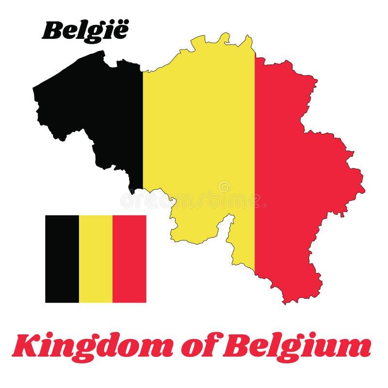 Breng overzicht in kaart en de vlag van België, het is een verticale tricolor, geel van zwarte, en rood stock illustratie