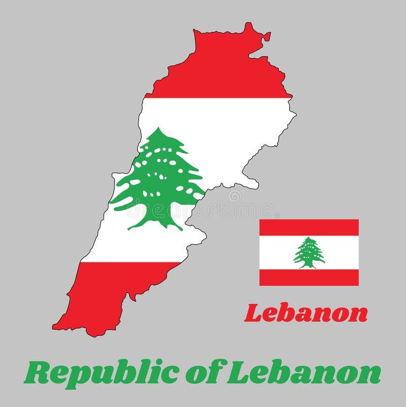 Breng overzicht in kaart en de vlag van Libanon, het is een horizontale die triband van rood en wit, met een groene Ceder van Lib stock illustratie