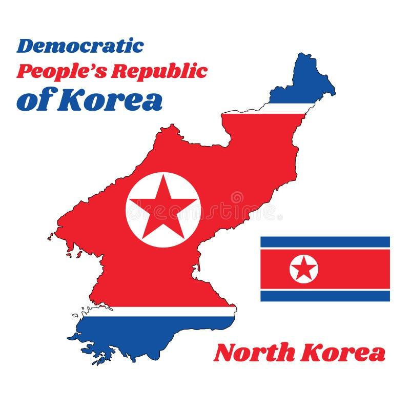 Breng overzicht in kaart en de vlag van Noord-Korea, het is een brede rode die streep op het centrum, door een smalle witte stree stock illustratie