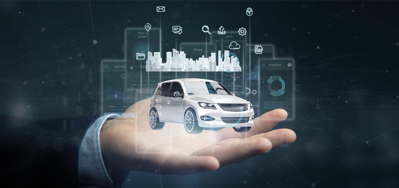 Brengen de het Dashboard smartcar interface van de zakenmanholding met het pictogram van verschillende media en de stad op een ac vector illustratie