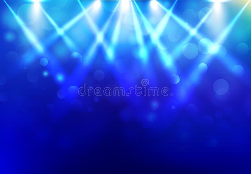 Brengt het aanstekende stadium van de discopartij met onder de aandacht blured bokeh op blauw royalty-vrije illustratie