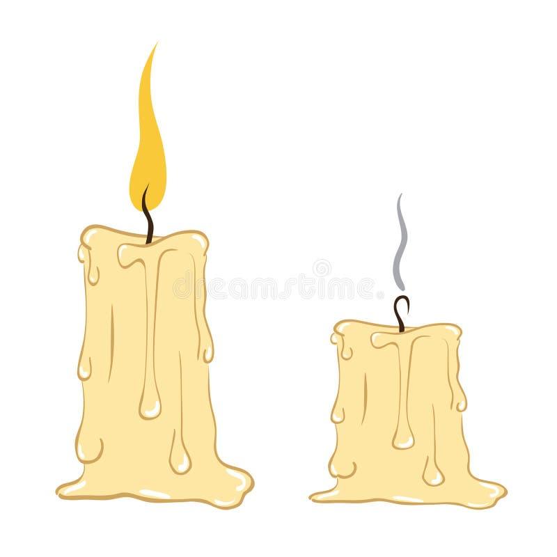 Brennen und ausgelöschte Kerze mit Bratenfettwachs stock abbildung