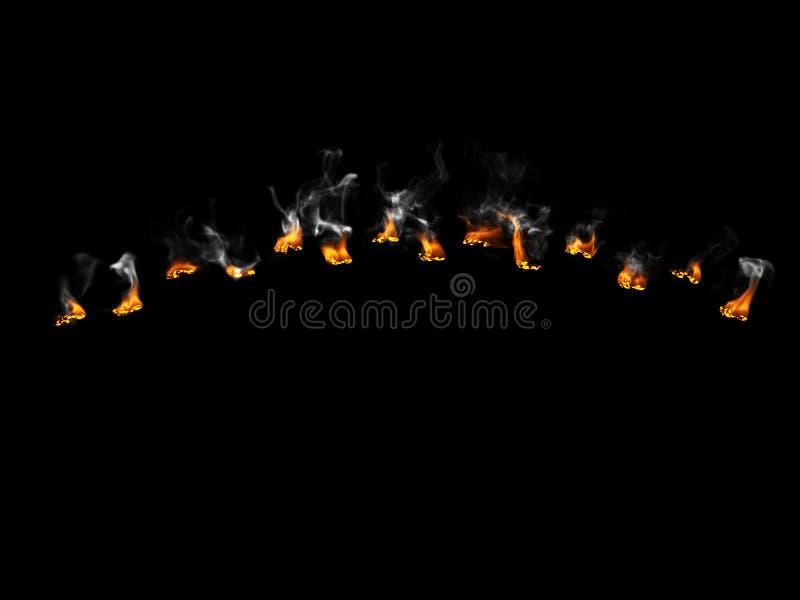 Brennende Abdrücke stockfotos