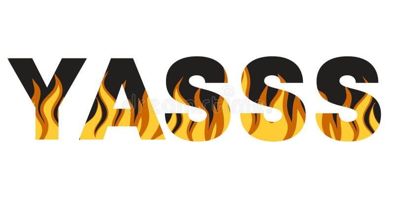 Brennende Aufschrift Feuerslogan Grafischer Druck der Typografie, Modezeichnung f?r T-Shirts stock abbildung