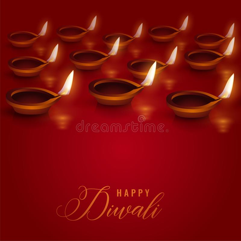 Brennende diya Lampen gesetzt auf roten Hintergrund für diwali Festival lizenzfreie abbildung
