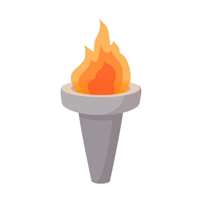 Brennende Fackelkarikaturikone lizenzfreie abbildung