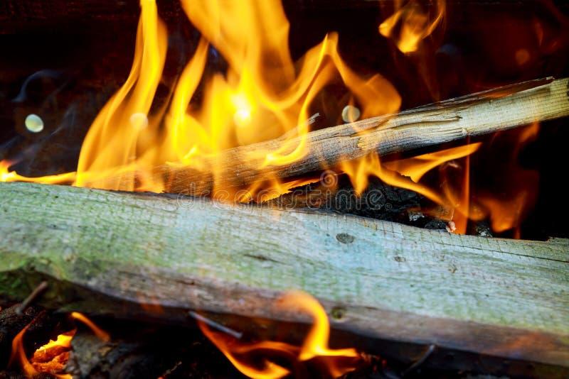 Brennende Flammen und glühende Kohle in BBQ, warmes orange Feuer mit Stück Hölzern stockfotos