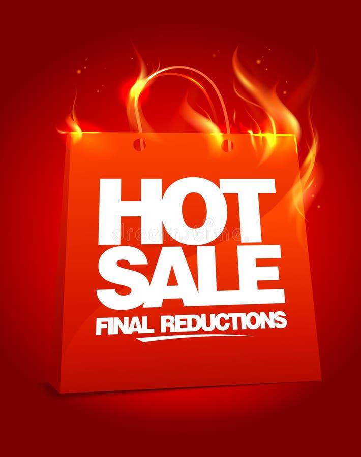 Brennende heiße Verkaufsauslegung. vektor abbildung