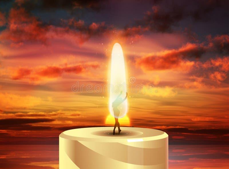 Brennende Kerze, Ballerina in den Flammen, Sonnenunterganghintergrund vektor abbildung