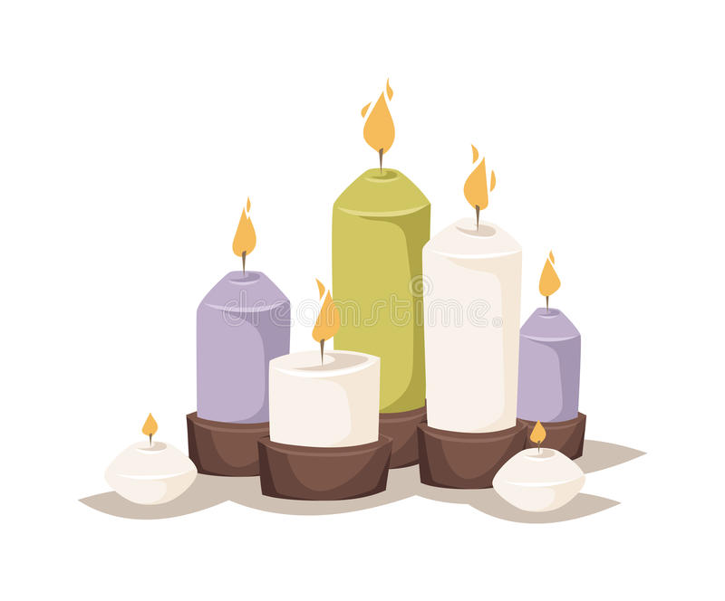 Brennende Kerzen der Karikatur mit Kerzenhalter und -feuer wachsen flachen Vektor der hellen Dekoration der Flamme ein lizenzfreie abbildung
