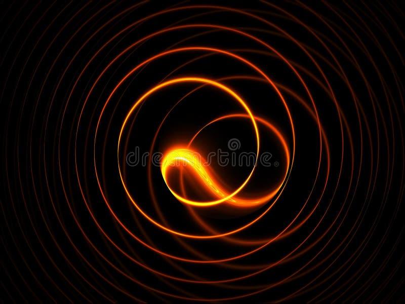 Brennende Kreisbewegungen auf schwarzem Hintergrund lizenzfreie abbildung