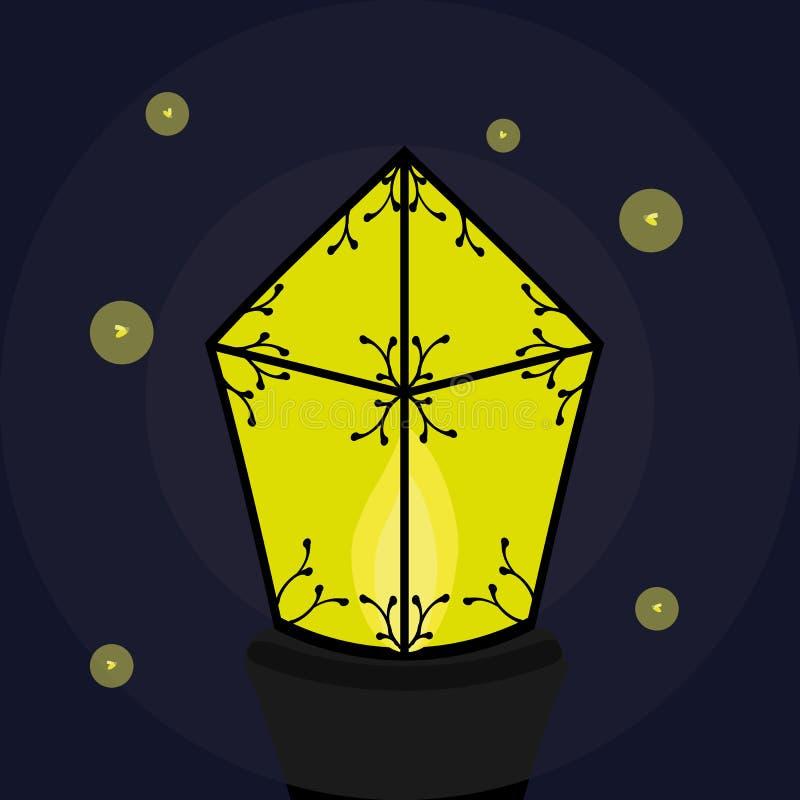 Brennende Laterne mit Leuchtkäfern stockbild