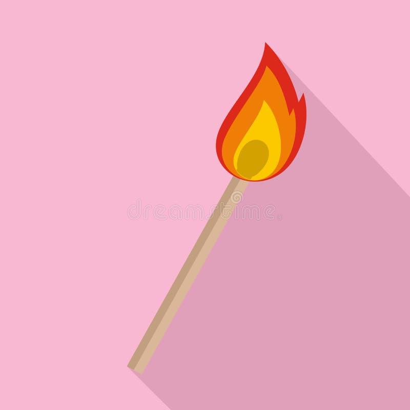 Brennende matche Ikone, flache Art stock abbildung