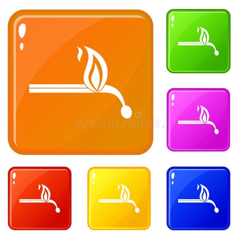 Brennende Matchikonen stellten Vektorfarbe ein vektor abbildung