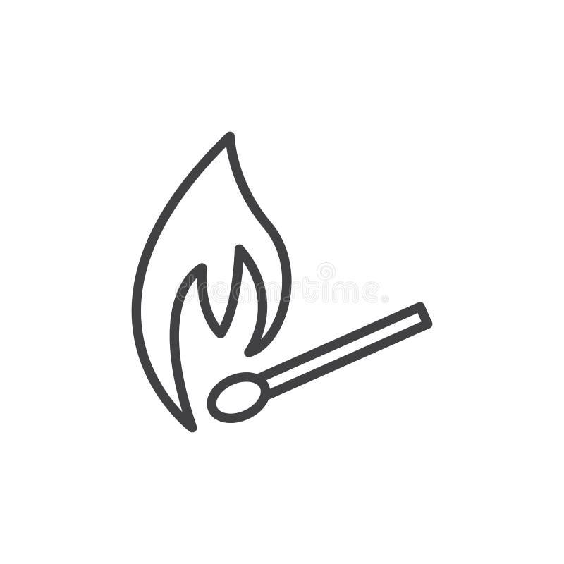 Brennende Matchlinie Ikone lizenzfreie abbildung