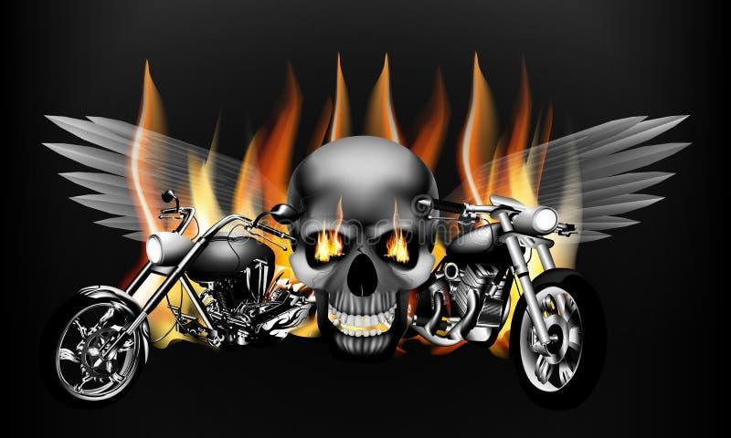 Brennende Motorräder auf dem Hintergrund eines Schädels mit Flügeln stockfotos