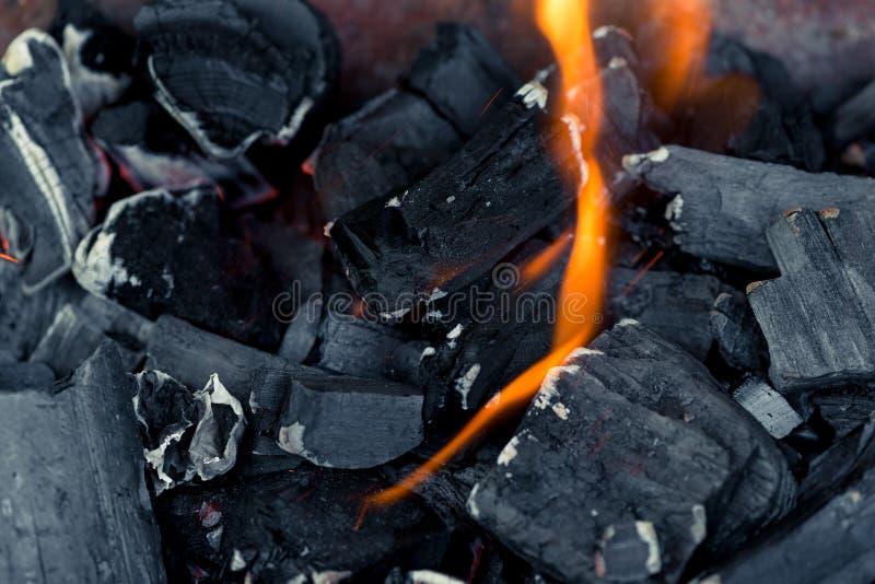 Brennende natürliche Kohlen in einem Feuer stockbild