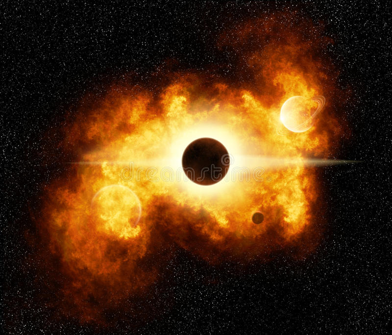 Brennende Nebelfleck-Explosion vektor abbildung