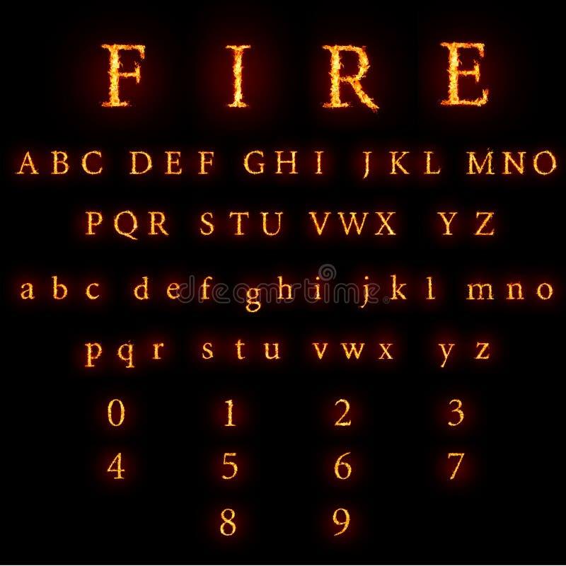 Brennende Schrifttypansammlung stockfoto