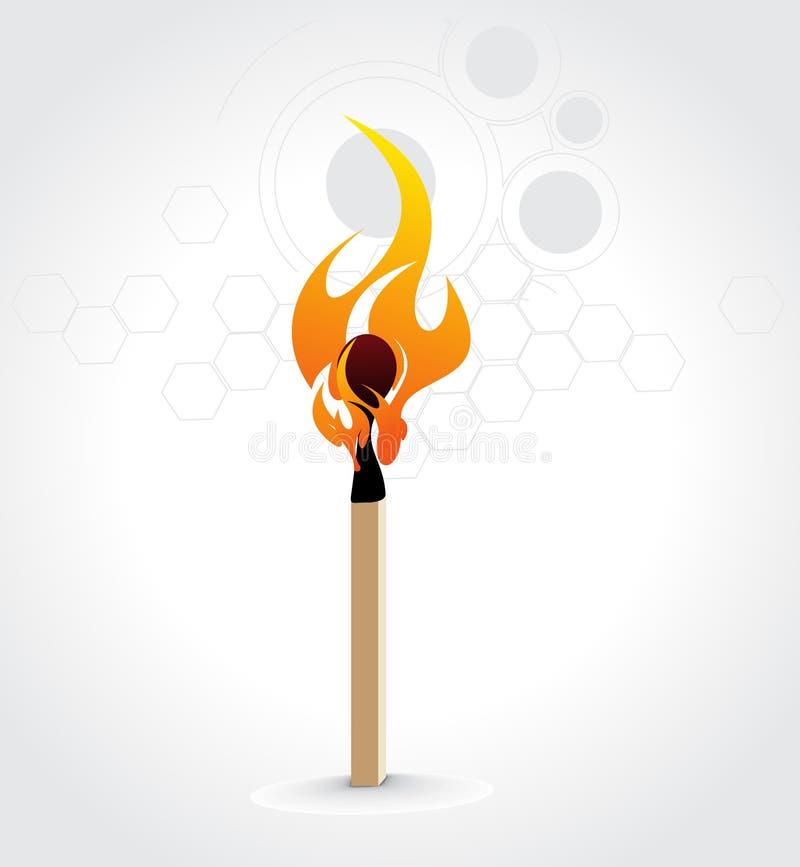 Brennender Abgleichungsteuerknüppel lizenzfreie abbildung