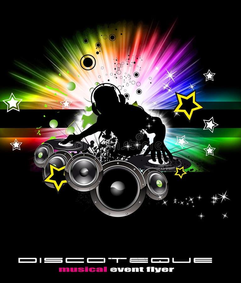 Brennender DJ-Hintergrund für alternative Disco-Flugblätter vektor abbildung