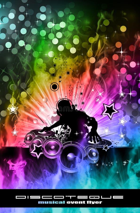 Brennender DJ-Hintergrund für alternative Disco-Flugblätter lizenzfreie abbildung