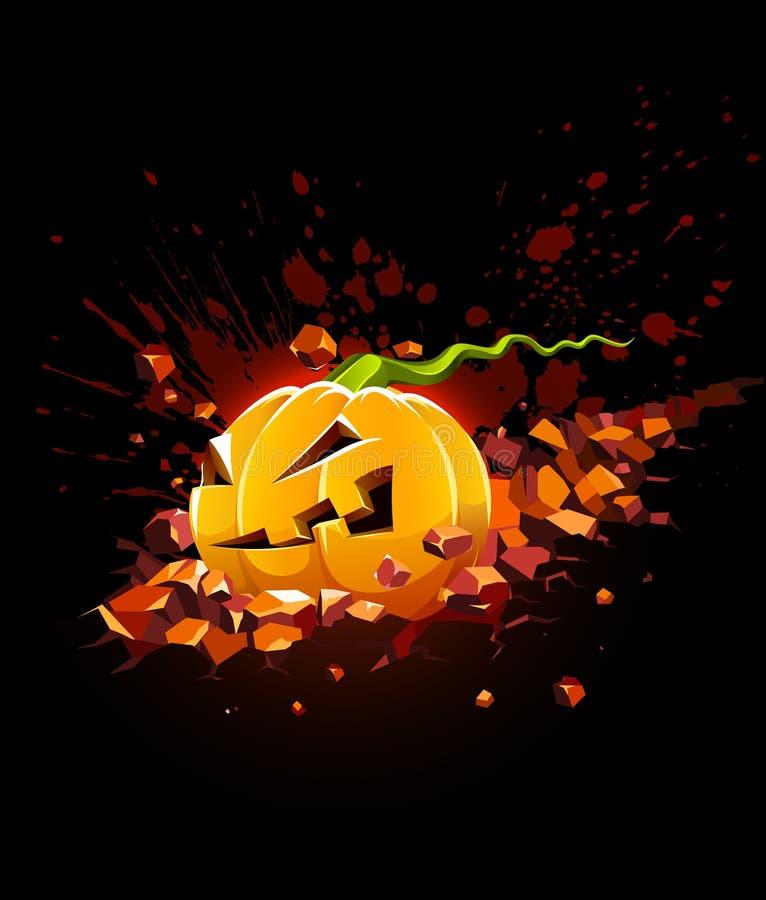 Brennender Halloween-Kürbis, der in Stein fällt lizenzfreie abbildung