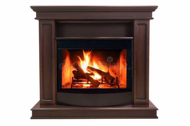 Brennender Kamin Browns lokalisiert auf weißem Hintergrund lizenzfreie stockbilder