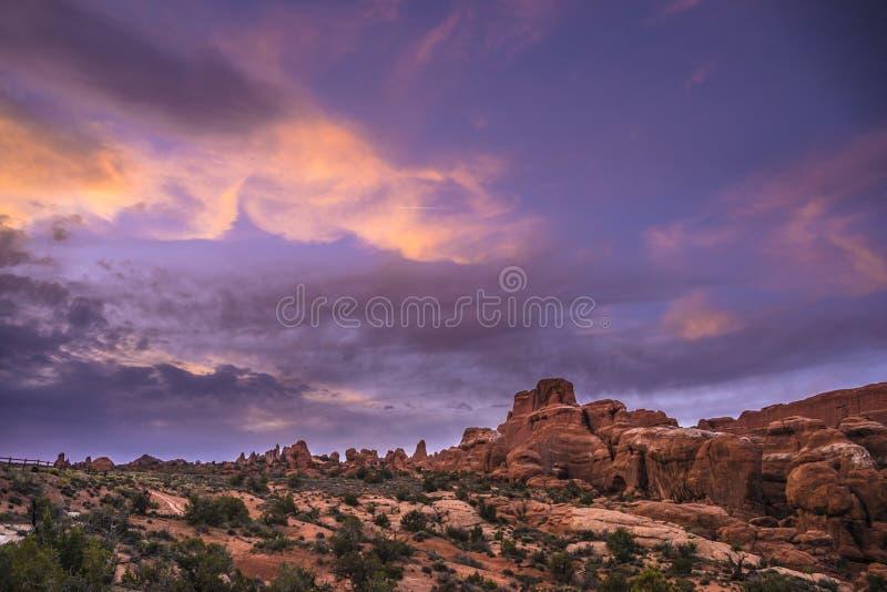 Brennender Ofen übersehen Bogen-Nationalpark stockbild
